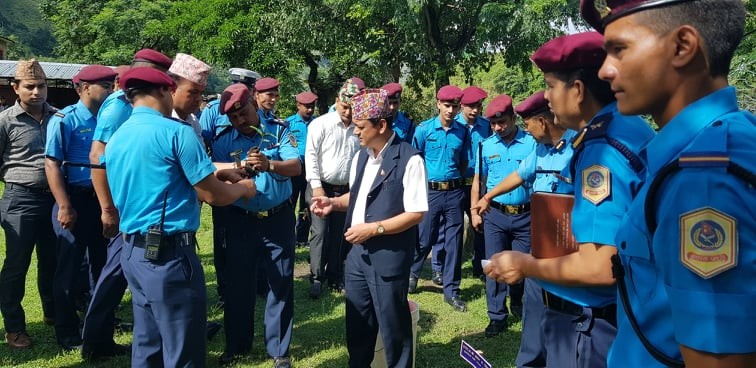 Tree plantation in District Police Office, Darchula after inspection